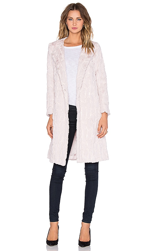 MILLY Sequin Faux Fur Coat in Blush