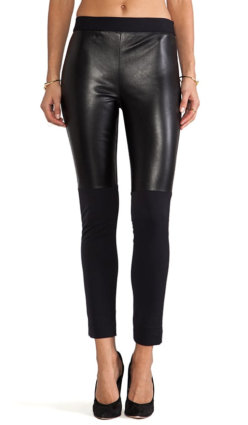Italian Doubleweave Stretch Bi Front Leather Panel Pant