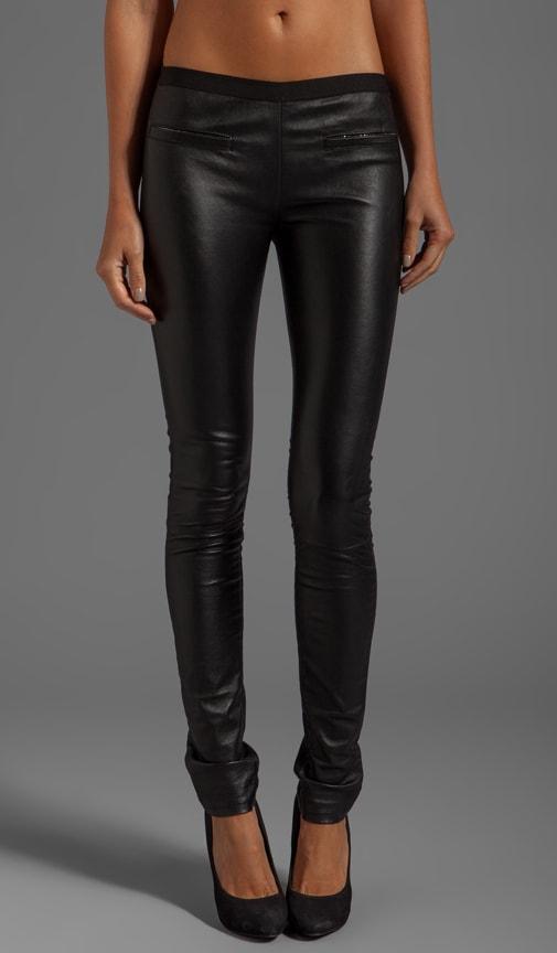 Stretch Plonge Leather Monic Pants