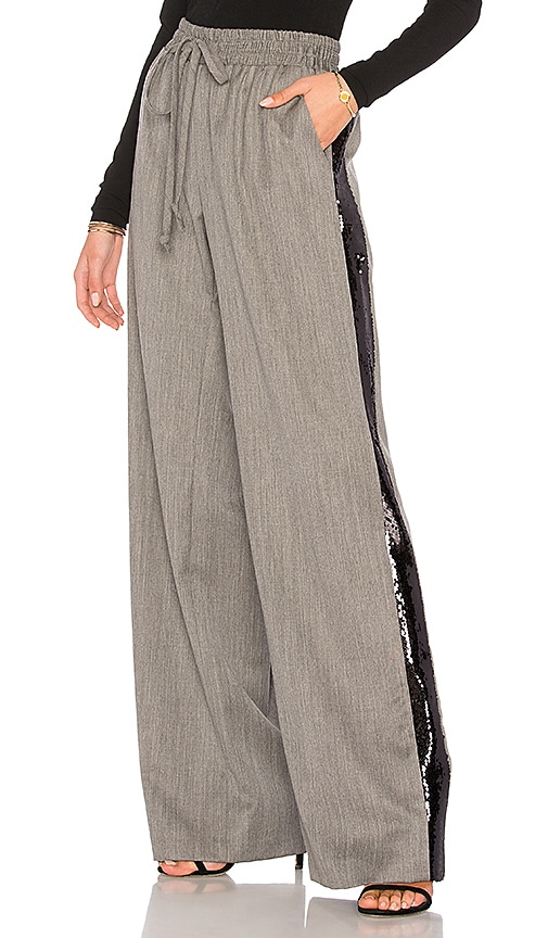MILLY Gabardine Sequin Trackpant in Grey