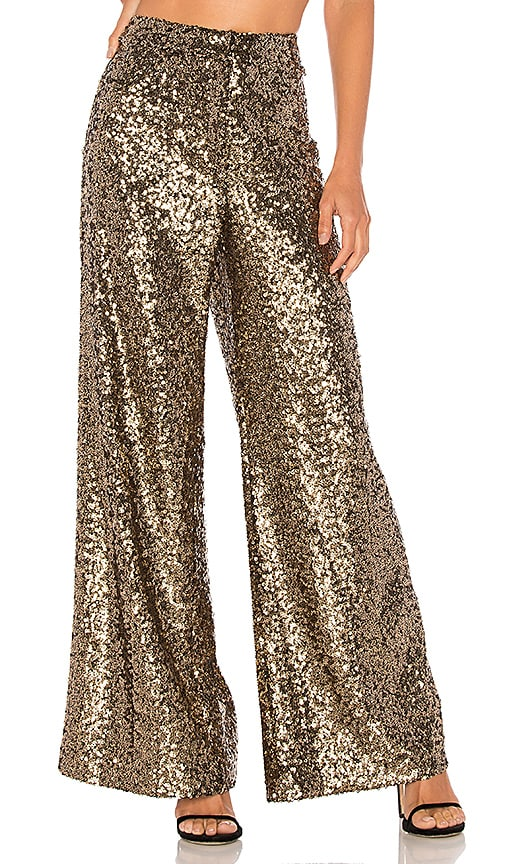 MILLY Sia Trousers in Metallic Gold