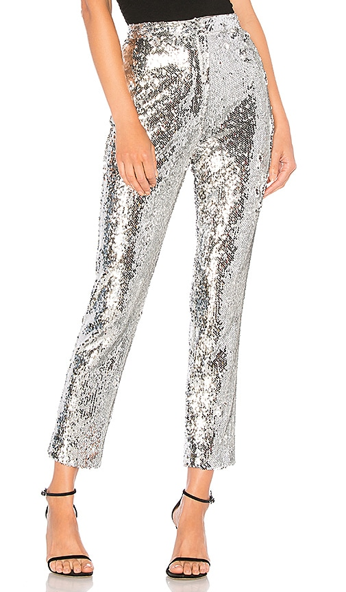 192dd6c6a2 MILLY Sequins High Waist Skinny Pant in Silver | REVOLVE