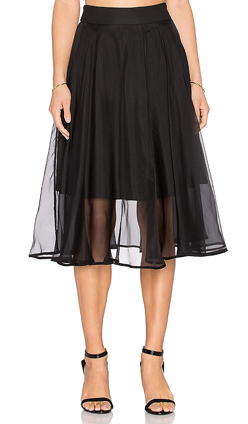 MILLY Silk Organza Circle Skirt in Black