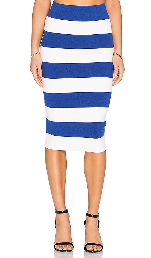 MILLY Fitted Skirt in Cobalt & White