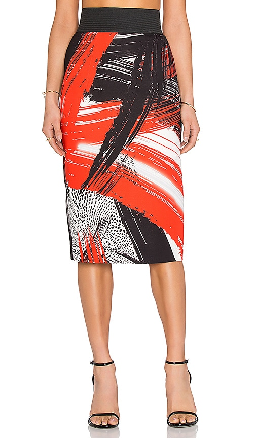 MILLY Brushstroke Print Pencil Skirt in Red