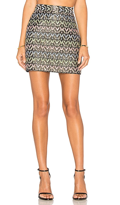 MILLY Chevron Modern Mini Skirt in Black