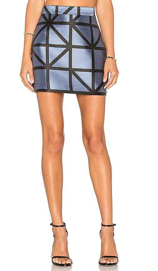 MILLY Grid Modern Mini Skirt in Blue