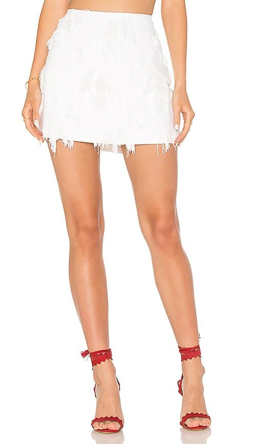 MILLY Frayed Mini Skirt in White