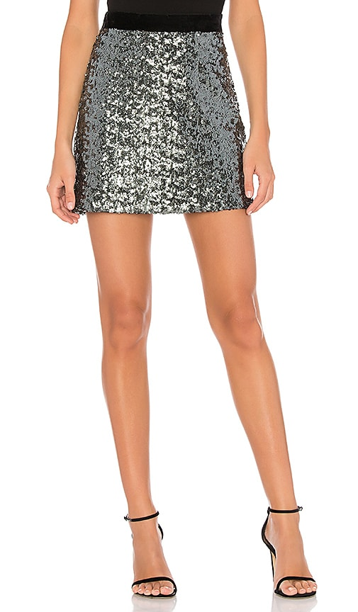 MILLY Modern Sea Glass Sequin Skirt in Turquoise