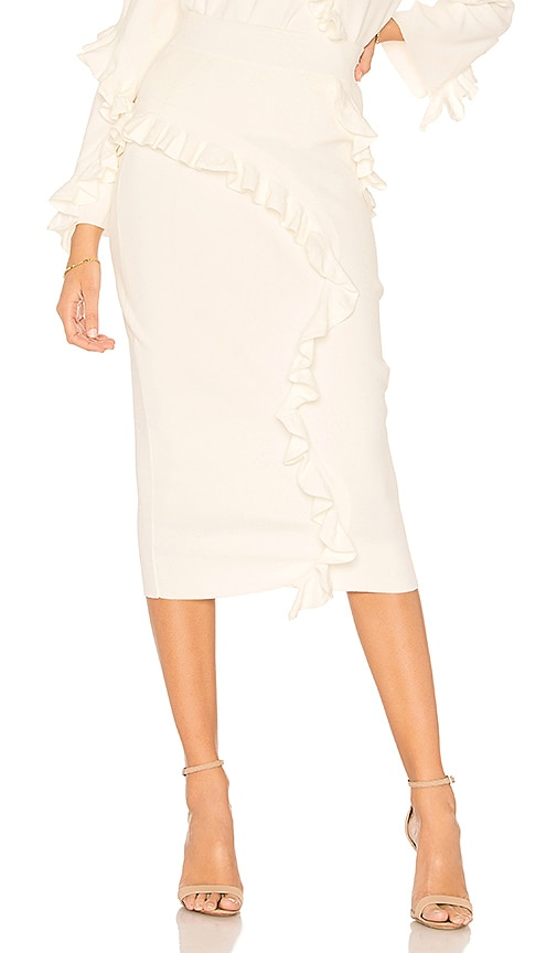 MILLY Abstract Ruffle Skirt in Ivory