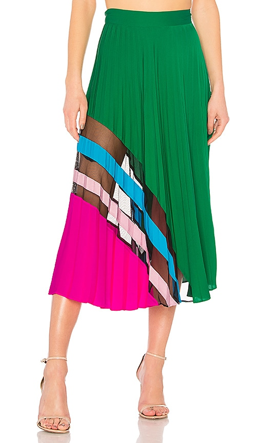MILLY Pleated Maxi Skirt in Green