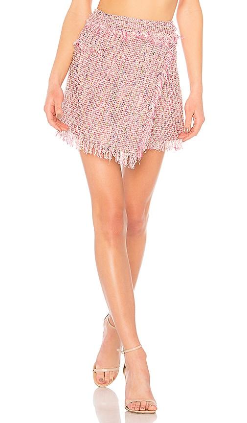 MILLY Fringe Mini Wrap Skirt in Pink