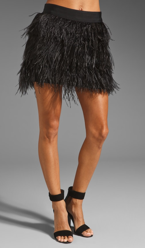 Satin Silk Organza Ostrich Fringe Mini Skirt