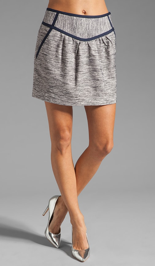 Barcelona Melange Tweed Piped Mini Skirt
