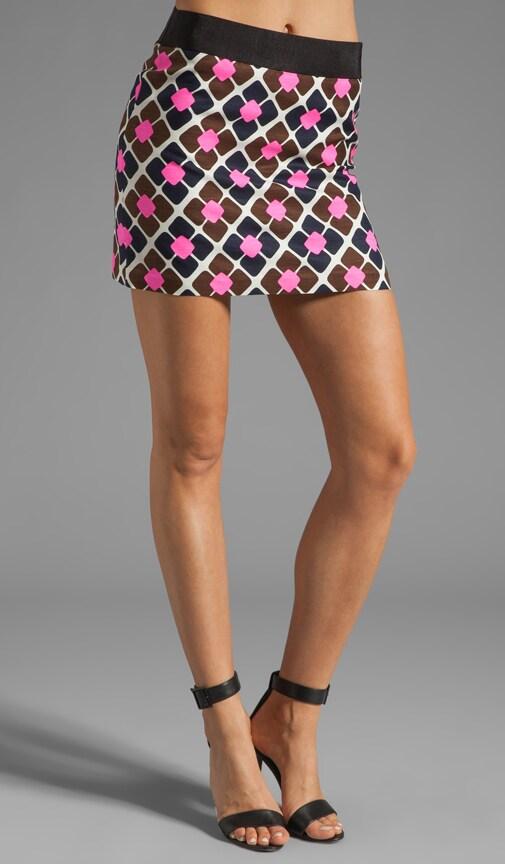 Anna Tile Print on Silk Linen Ribbon Mini Skirt