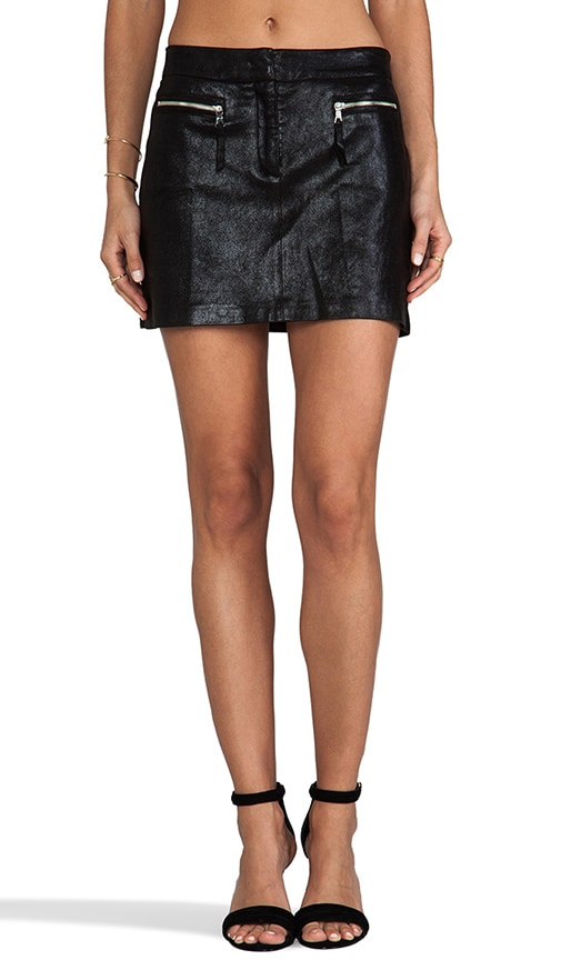 Stretch Plonge Leather Mini Skirt