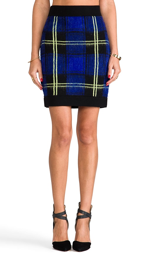 RUNWAY Knit Washed Plaid Jacquard Mini Skirt