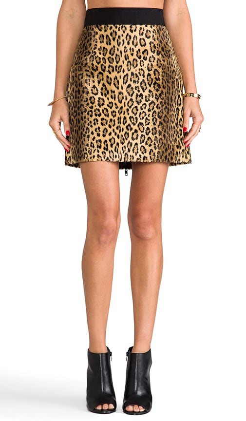 Cheetah Faux Fur Mini Pencil Skirt