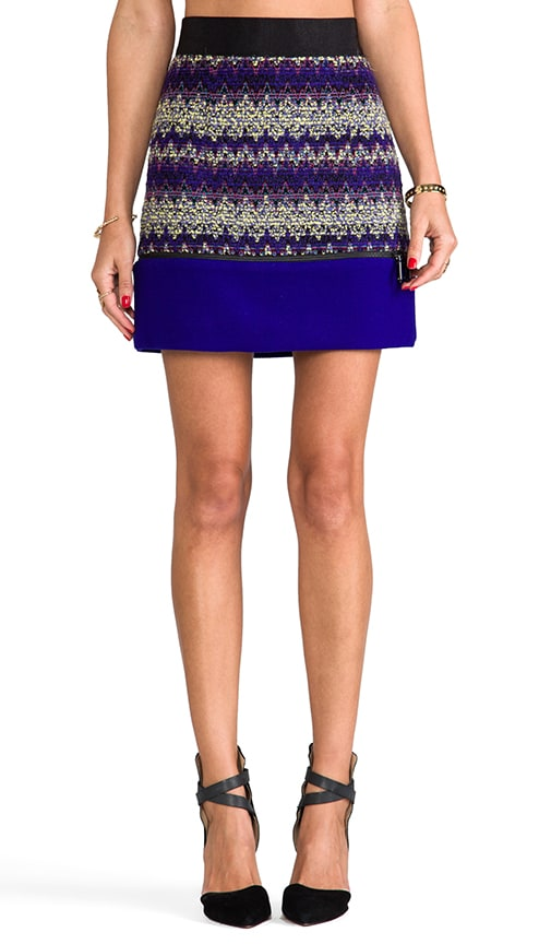Zig Zag Tweed Zipper Mini Skirt