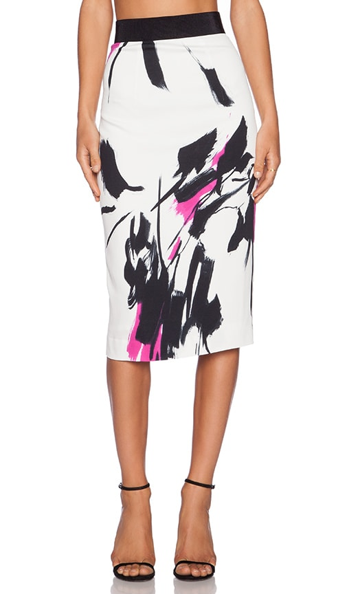 MILLY Tokyo Floral Print Midi Skirt in White