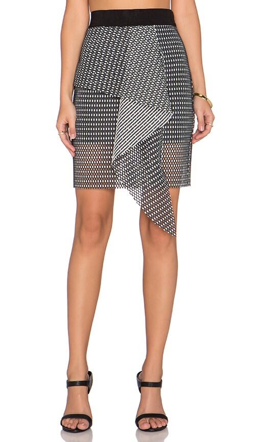 MILLY Mesh Cascade Mini Skirt in Black & White