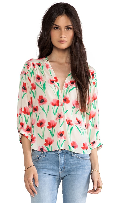 Poppy Print Camilla Sleeve Top