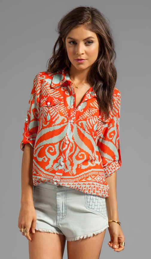 Mosaic Print Silk Elisa Epaulette Buttondown Top