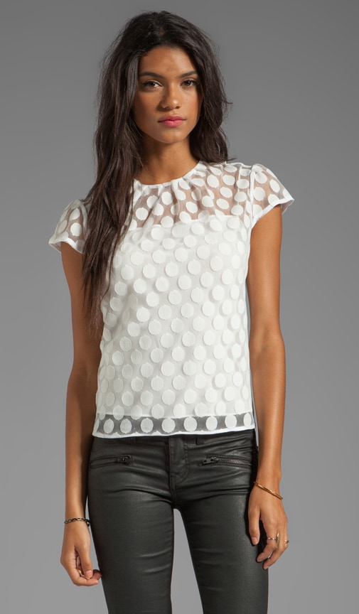 Gumball Dot Lace Lexi Cap Sleeve Top