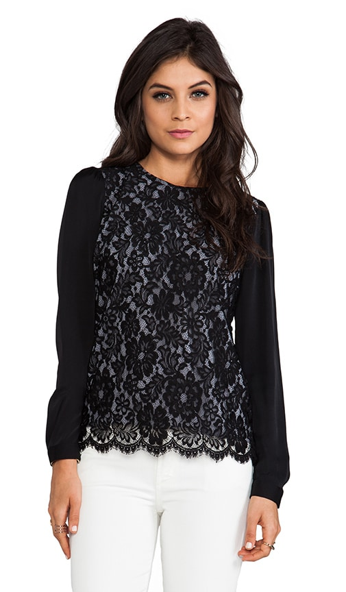 Floral Scalloped Lace Blousant Sleeve Top