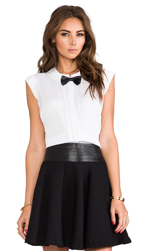 Stretch Silk Crepe Leather Bowtie Top