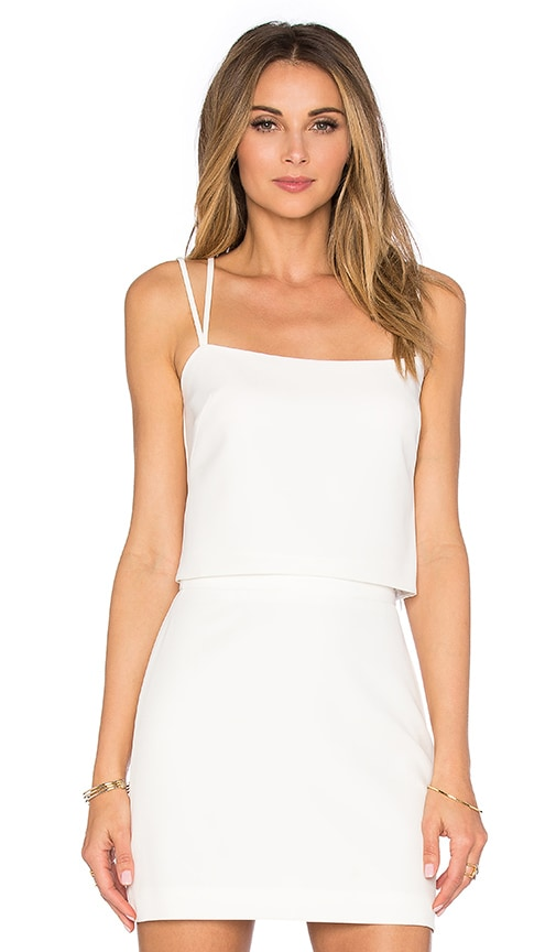 MILLY Emery Cross Back Tank Top in White
