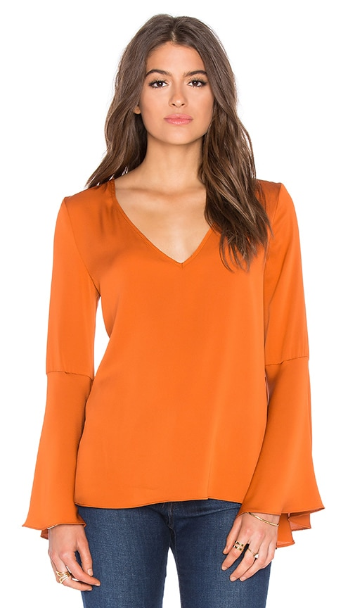 MILLY Flutter Sleeve Top in Rust