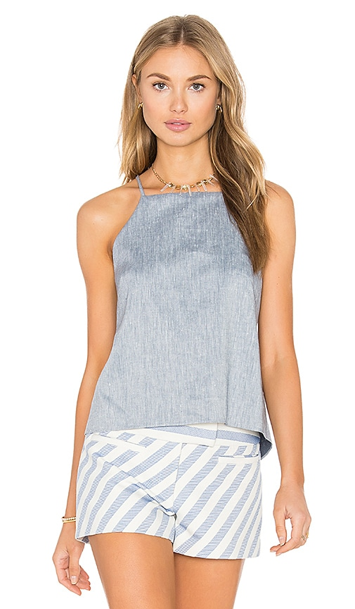 MILLY Trapeze Drape Back Tank in Blue