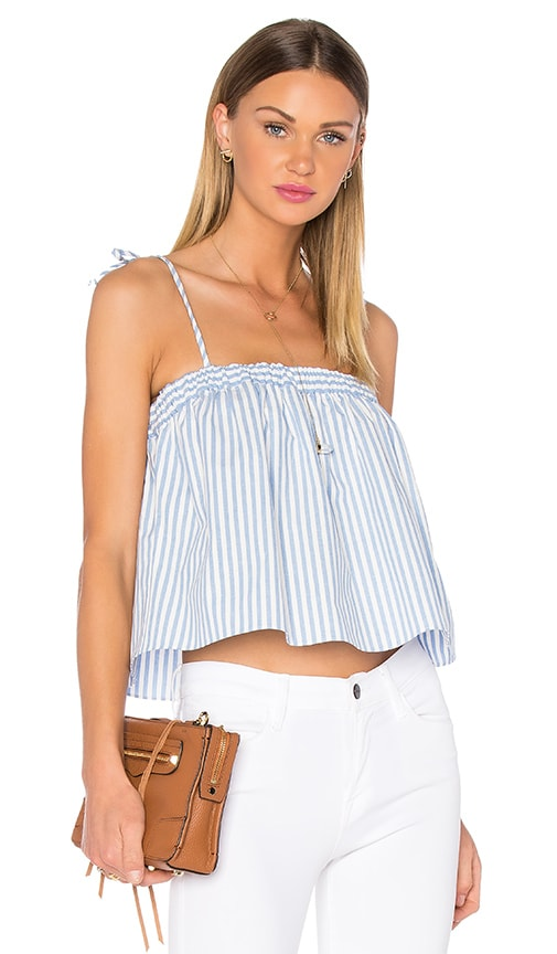 9057e02bd9a69 MILLY Tie Pinstripes Tied Crop Top in Blue