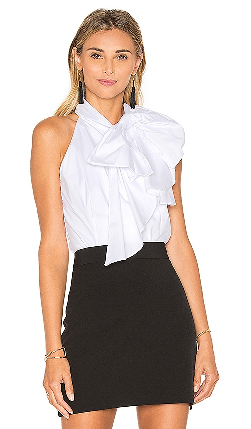 MILLY Poplin Bow Blouse in White