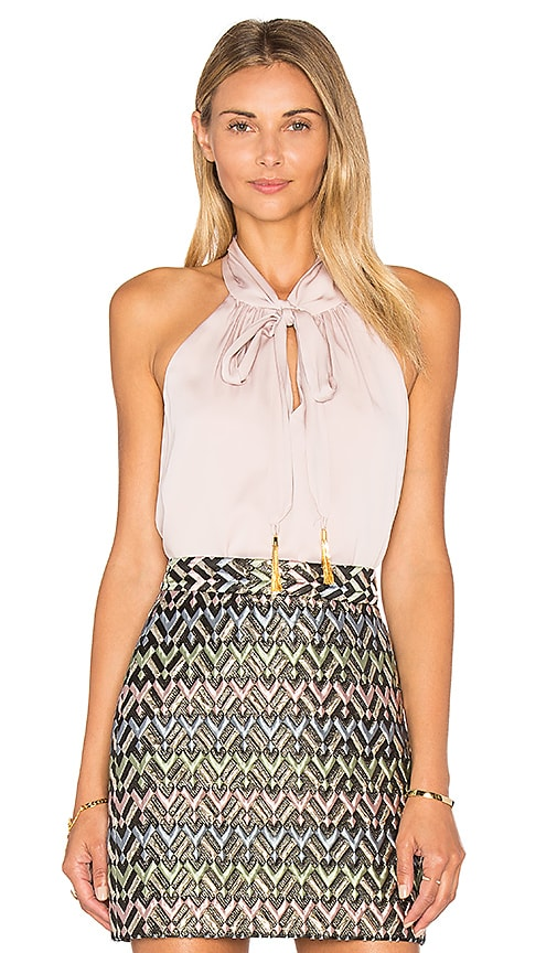 MILLY Tassel Halter Top in Lavender