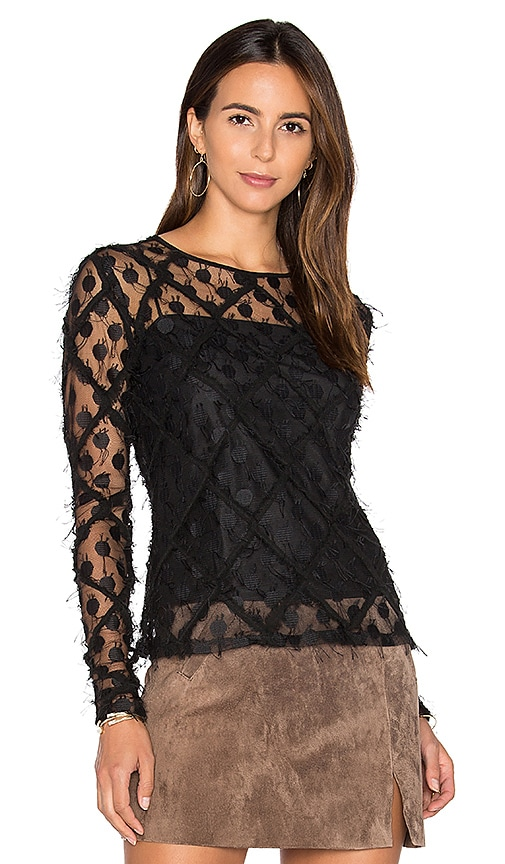 MILLY Lace Long Sleeve Top in Black