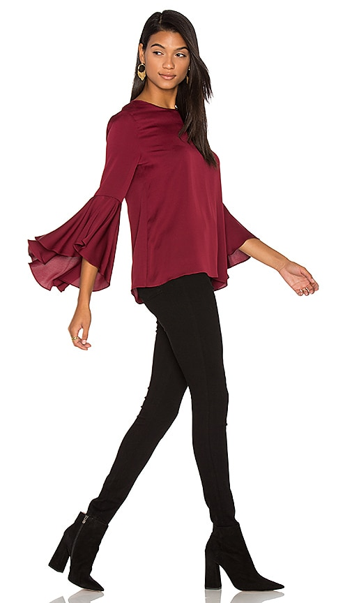 MILLY Silk Bell Sleeve Top in Burgundy