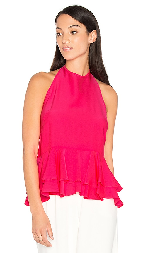 MILLY Halter Ruffle Tank in Pink