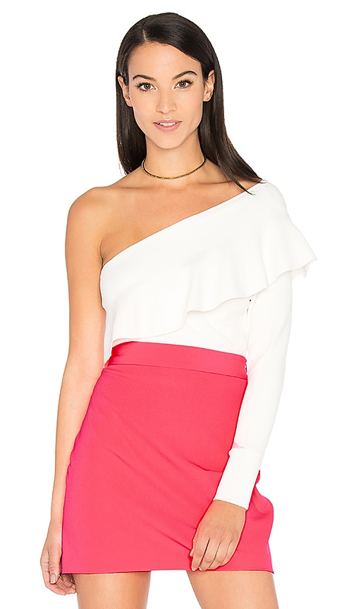 MILLY Flounce Top in White