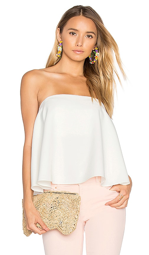 MILLY Ruffle Strapless Top in White