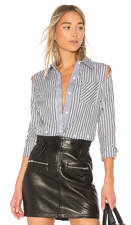 MILLY Stripe Fractured Shirt in Gray