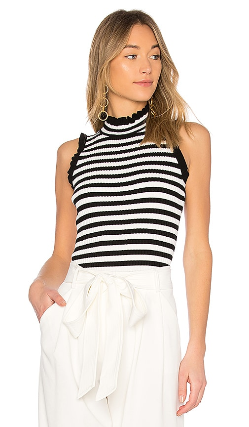 MILLY Ruffle Edge Rib Shell Top in Black & White