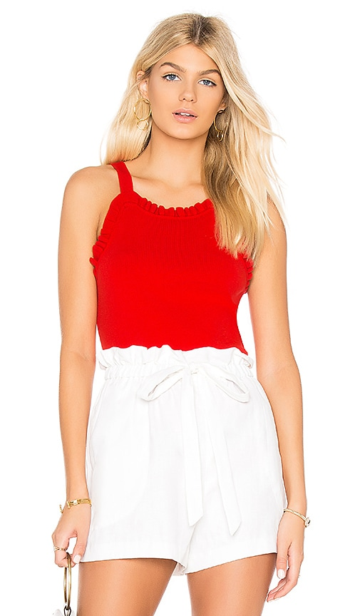 MILLY Ruffle Tank in Red