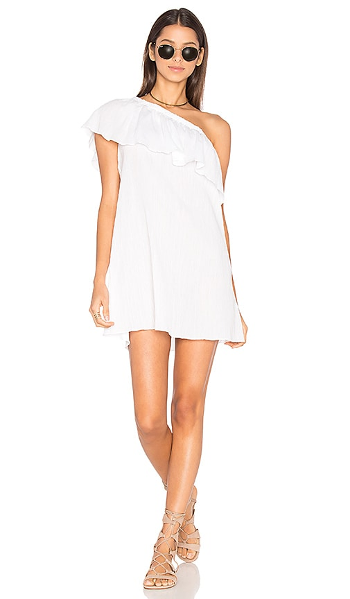MILLY Crinkle Cotton One Shoulder Cover Up in White