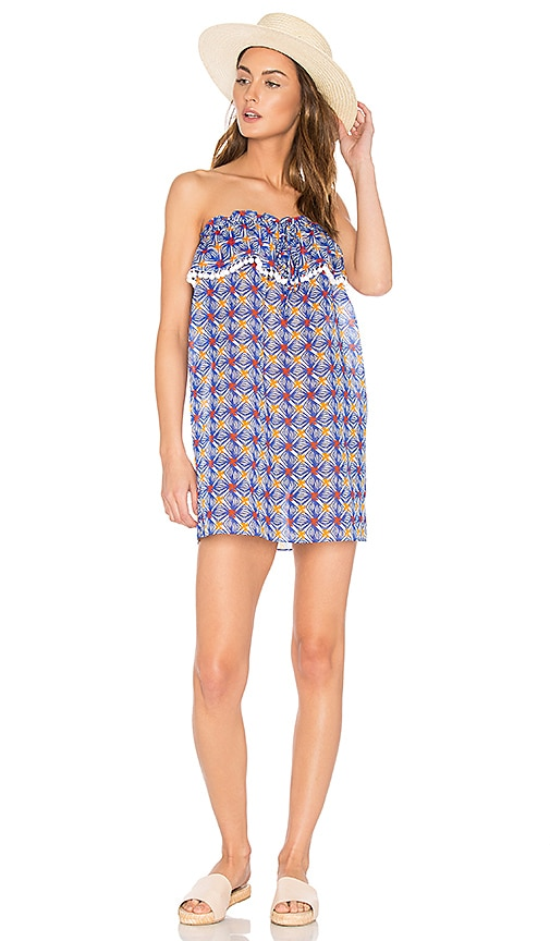 MILLY Anguilla Ruffled Strapless Dress in Blue