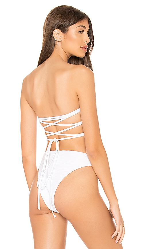 MILLY Wave Bikini Top in White