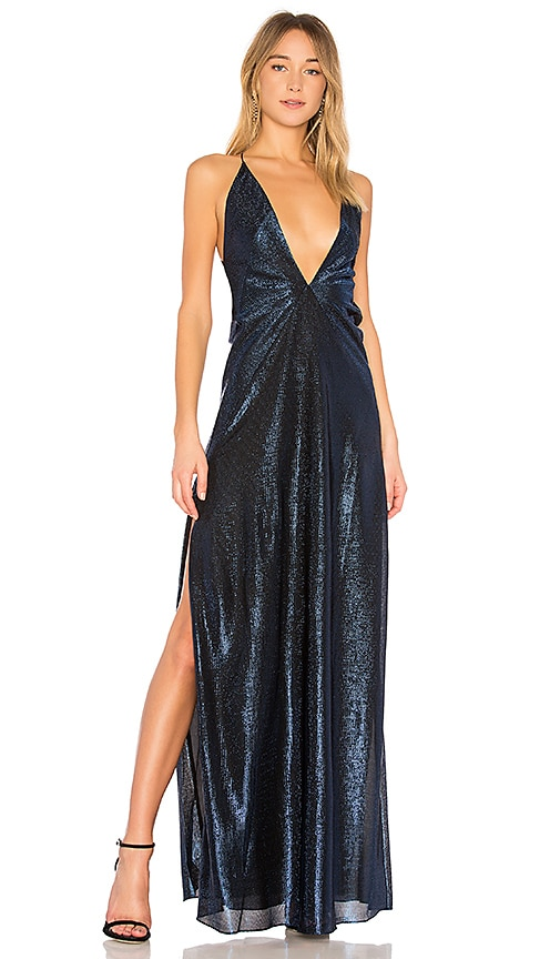 Michael Lo Sordo Alexandra Lame Maxi Dress in Blue