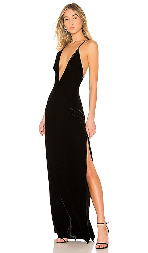 Michael Lo Sordo Alexandra Velvet Maxi Dress in Black