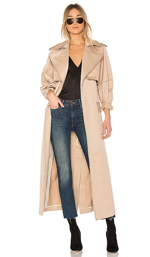 Michael Lo Sordo Relaxed Cocoon Trench With Contrast Stitch in Beige